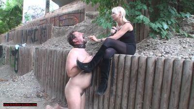 Princess Paris makes slave her ashtray
