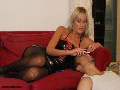 Mistress Aneta uses human ashtray